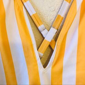 Forever 21 Swim - 5/$25 Yellow Stripe Plunging Neck Plus Swimsuit